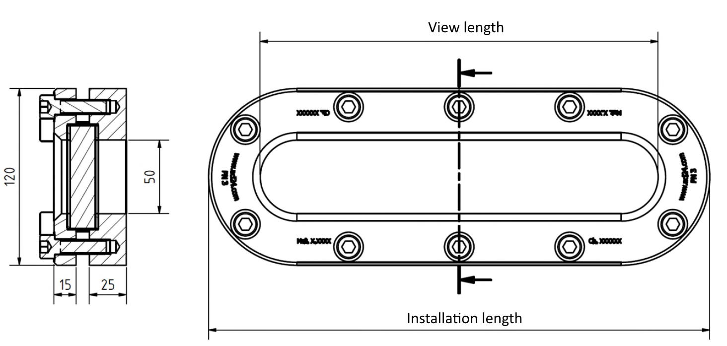 Oval level indicator type 338 - dimensions